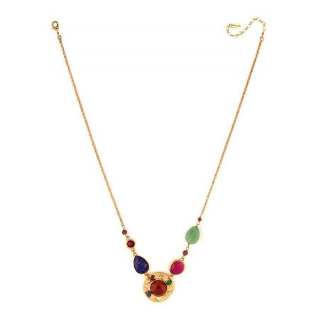 Fashionable garnet, and lapis lazuli mid-length necklace l multicoloured75034