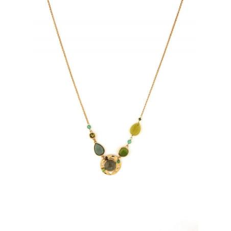 Poetic aventurine jade and labradorite mid-length necklace l green