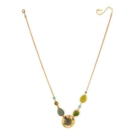 Poetic aventurine jade and labradorite mid-length necklace l green75039