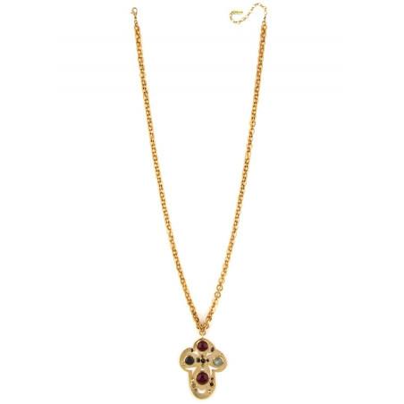 Baroque garnet and onyx pendant necklace | black75059