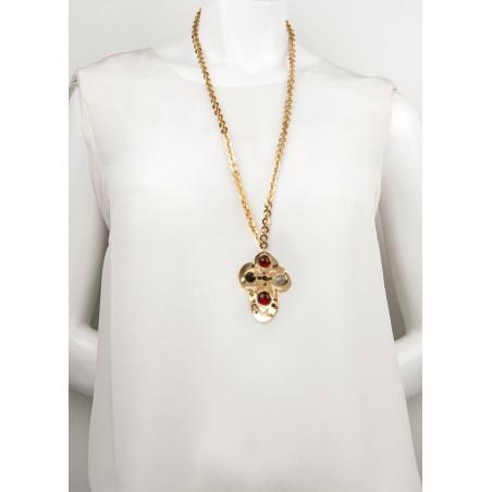Baroque garnet and onyx pendant necklace | black75060