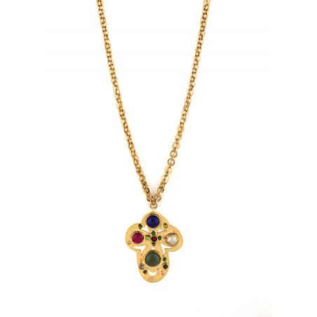 Sparkly garnet, jade and lapis lazuli pendant necklace l multicoloured