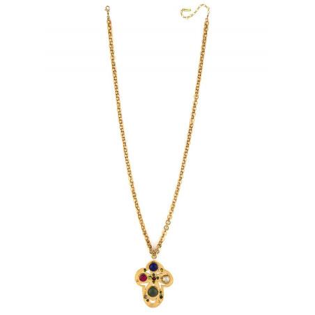 Sparkly garnet, jade and lapis lazuli pendant necklace l multicoloured75064