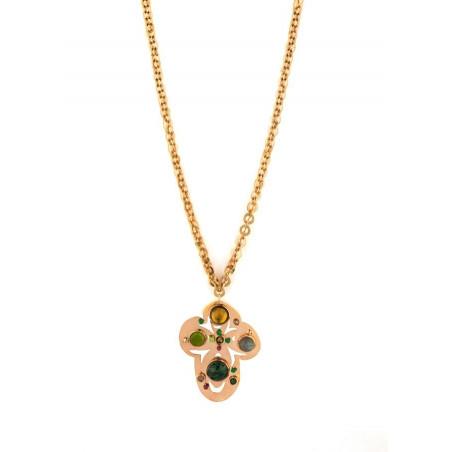 Romantic agate jasper and malachite pendant necklace   green
