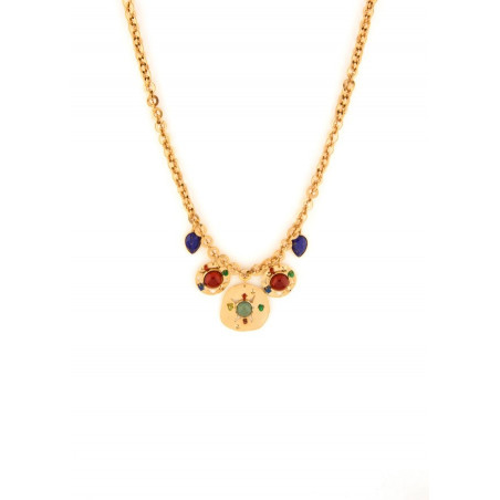 Sunny garnet, jade and lapis lazuli mid-length necklace l multicoloured