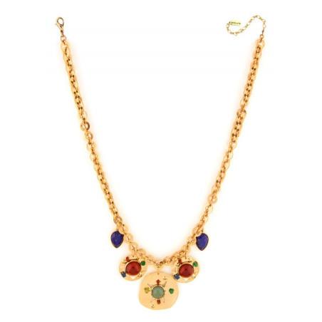 Sunny garnet, jade and lapis lazuli mid-length necklace l multicoloured75079