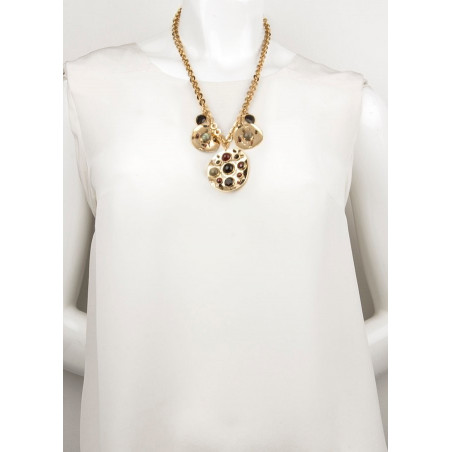 Glamorous garnet, onyx crystal sautoir necklace | black75090