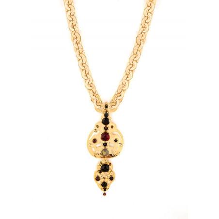 Graphic garnet, onyx crystal sautoir necklace   black