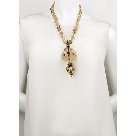 Graphic garnet, onyx crystal sautoir necklace   black75105
