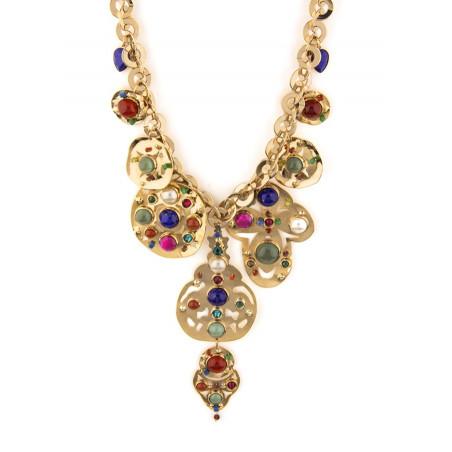 Dazzling jade, lapis lazuli and malachite breastplate necklace l multicoloured
