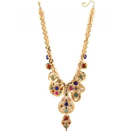 Dazzling jade, lapis lazuli and malachite breastplate necklace l multicoloured75124