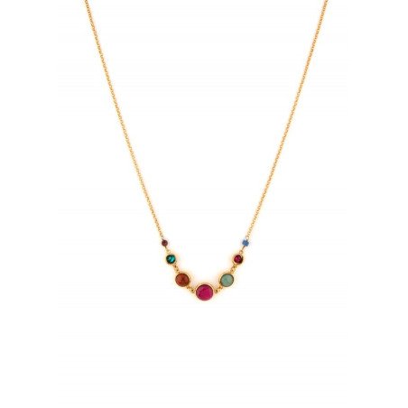 Feminine garnet and lapis lazuli mid-length necklace l multicoloured
