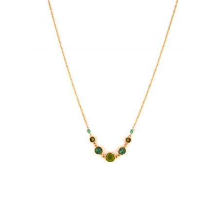 Poetic jasper aventurine and jade mid-length necklace l green