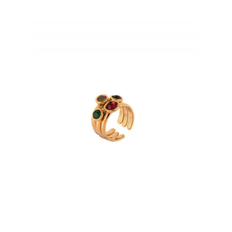 Chic garnet and malachite adjustable cocktail ring l multicoloured