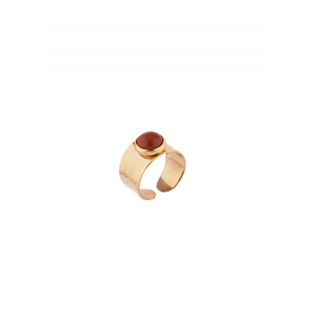 Seductive hammered metal and jasper adjustable ring | burgundy