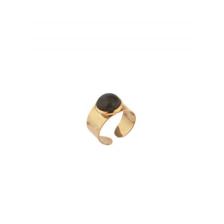 Mystic hammered metal and labradorite adjustable ring   black