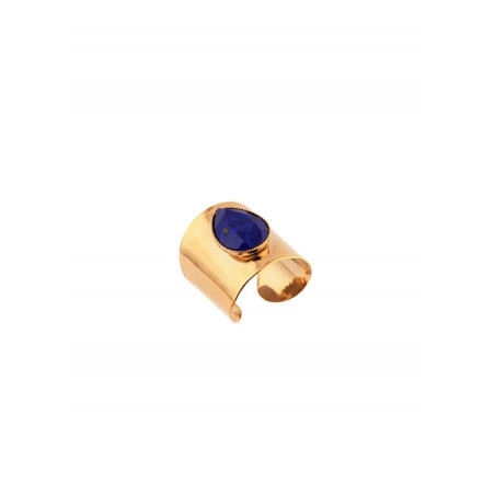 Sensual hammered metal and cabochon adjustable ring | blue