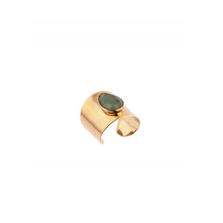 Feminine hammered metal and cabochon adjustable ring | green