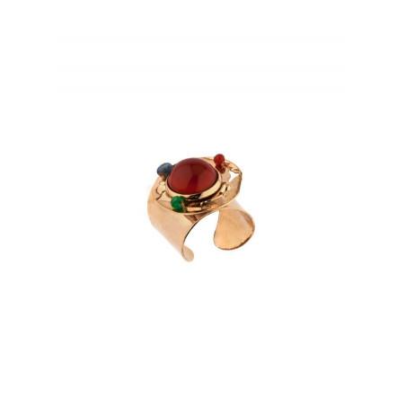 Glamorous hammered metal carnelian and jade adjustable ring   burgundy