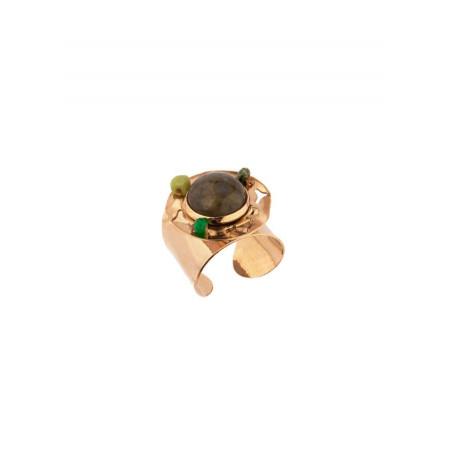 Chic hammered metal jade and labradorite adjustable ring | green