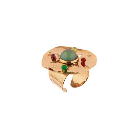 On-trend hammered metal garnet and jade adjustable ring   green