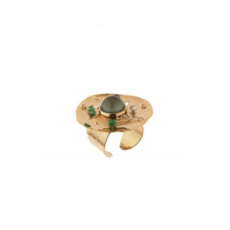 Bohemian hammered metal agate and jade adjustable ring   khaki