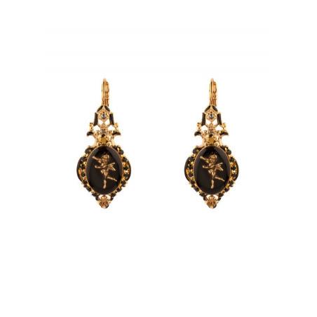 Boucles d'oreilles dormeuses romantiques ange et cristaux   noir