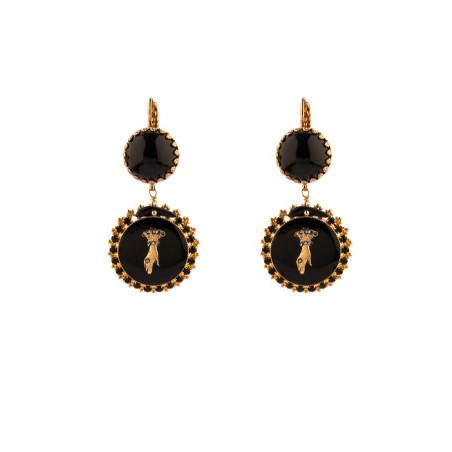 Rhinestone hand sleeper earrings l black