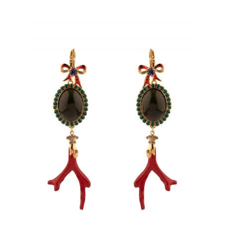 Boucles d'oreilles dormeuses baroques métal laqué et cristaux | multicolore