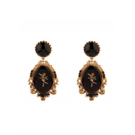 Boucles d'oreilles clips baroques médaillon ange | noir