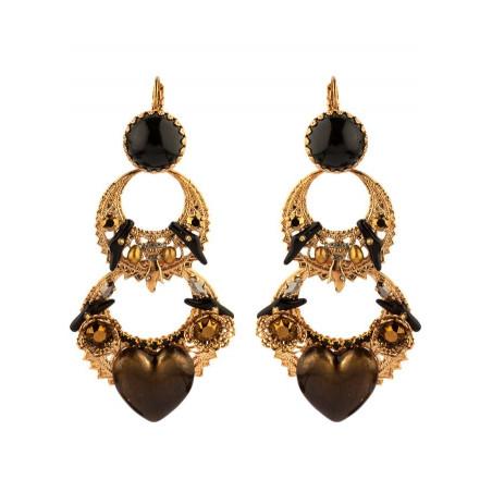 Boucles d'oreilles dormeuses mystérieuses cœur et cristaux | noir