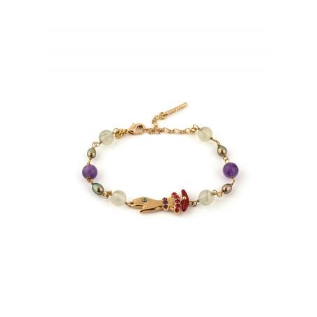 bracelet souple fantaisie perles et main strassée | multicolore