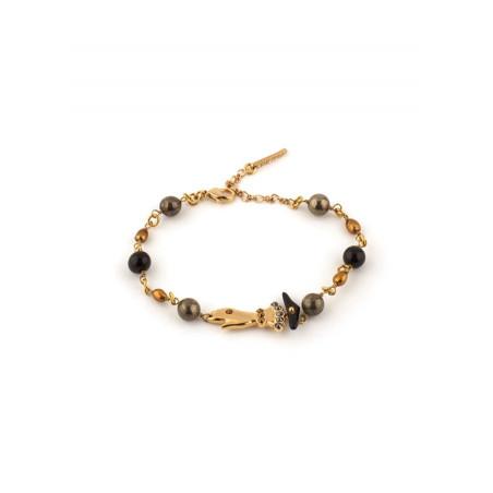 Bracelet souple féminin perles et main strassée | noir