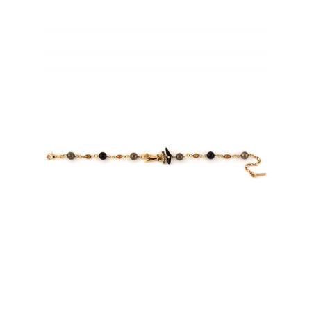 Bracelet souple féminin perles et main strassée | noir75409