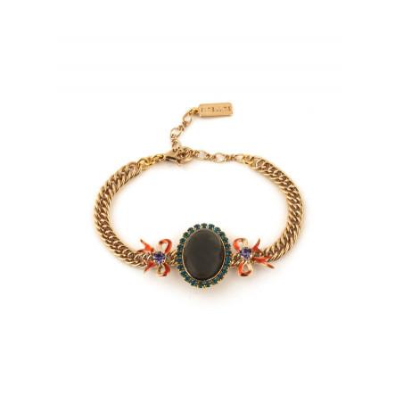 Bracelet souple glamour strass et rubans | multicolore