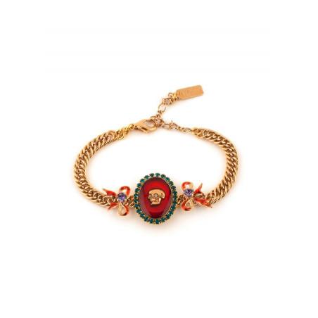 Bracelet souple baroque strass et tête de mort | multicolore