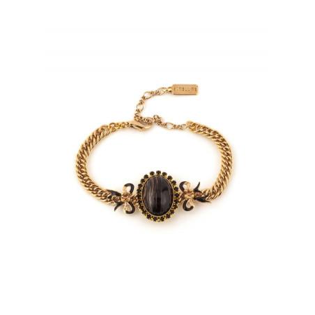 Bracelet souple sophistiqué rubans en métal laqué | noir