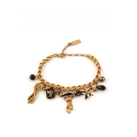 Bracelet souple mystérieux pampilles et perles | noir