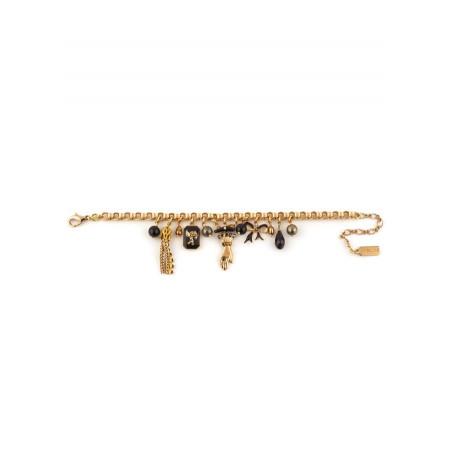 Bracelet souple mystérieux pampilles et perles | noir75457