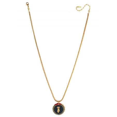 Collier pendentif rétro main strassée et velours | multicolore75577