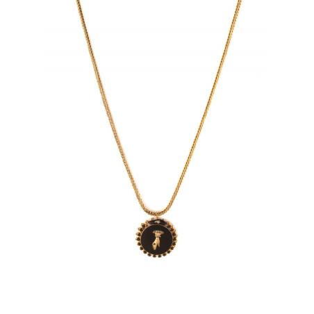 Collier pendentif féminin main strassée et cristaux | noir
