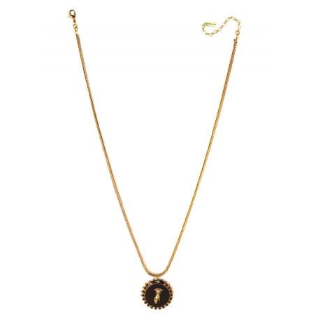 Collier pendentif féminin main strassée et cristaux | noir75582