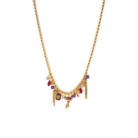 Collier pendentif baroque pampilles et pierres d'améthyste   multicolore