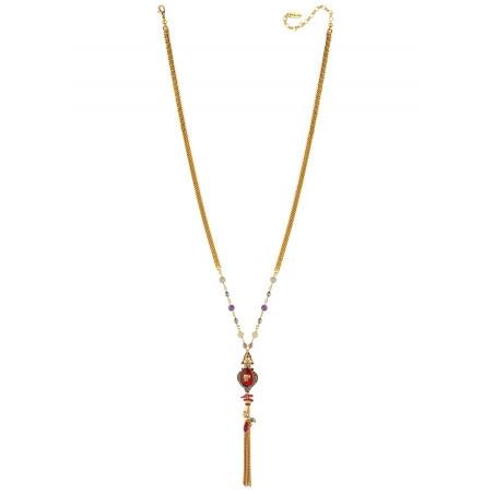 Collier sautoir baroque tête de mort et perles   multicolore75622