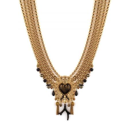 Collier plastron multi rangs mystérieux cœur et perles | noir