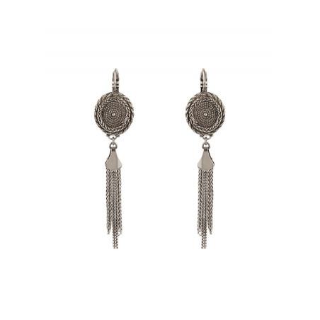 Boucles d'oreilles dormeuses tendance métal | argenté