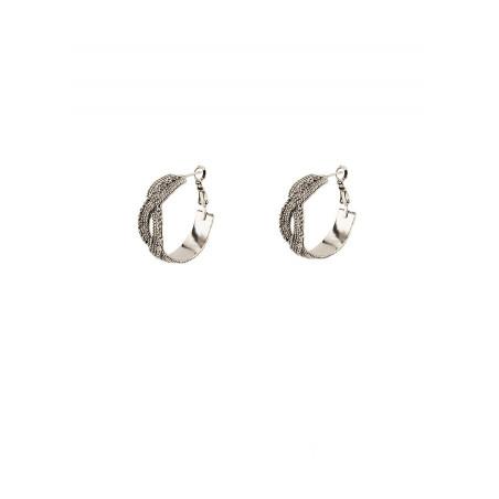 Boucles d'oreilles créoles percées précieuses métal   argenté