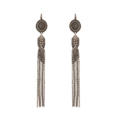 Boucles d'oreilles dormeuses fantaisies métal | argenté