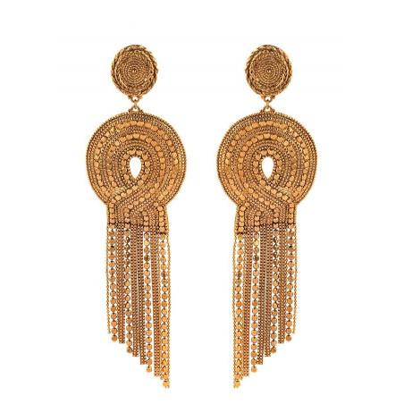 Festive metal clip-on earrings   gold-plated