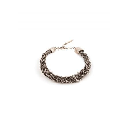 Bracelet souple glamour métal tressé   argenté